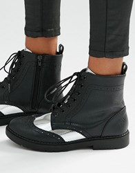 London Rebel Brogue Lace Up Ankle Boots Black Pu