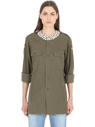 Forte Couture Embellished Collar Cotton Canvas Shirt