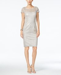 Adrianna Papell Sequined Illusion Sheath Dress Silver