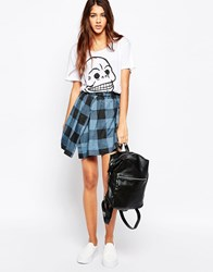 Cheap Monday Prom Skirt Denim Check Blue