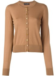 Dolce And Gabbana Fine Knit Cardigan Nude And Neutrals