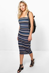 Boohoo Printed Boob Tube Dress Blue