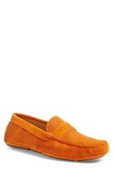 Aquatalia By Marvin K Men's 'Bruce' Weatherproof Driving Shoe Orange Suede