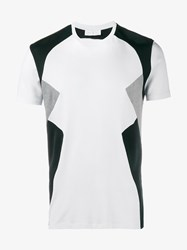 Neil Barrett Retro Short Sleeve T Shirt White Multi Coloured Black Grey