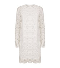 R R Studio Embroidered Lace Long Sleeve Dress Female Beige