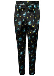 Toga Pulla Navy Floral Print Satin Trousers