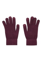 Topshop Touch Screen Knitted Gloves Burgundy