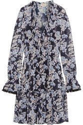 Temperley London Captain Floral Print Chiffon Mini Dress Lavender