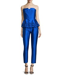 Sachin And Babi Noir Strapless Peplum Textured Jumpsuit Cobalt