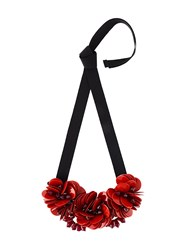 P.A.R.O.S.H. Floral Ribbon Necklace Red