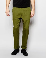 Asos Straight Trousers In Khaki Twill With Front Pockets Green