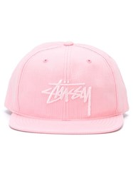 Stussy Embroidered Logo Cap Pink And Purple