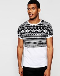 Asos Boxy Knitted Tshirt With Design Detail At Yoke White