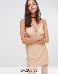 Missguided Lace Trim Cami Slip Dress Nude Pink