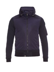 Moncler Contrast Hooded Zip Through Jacket Navy