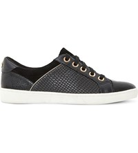 Dune Euston Leather And Suede Trainers Black Embossed Leather