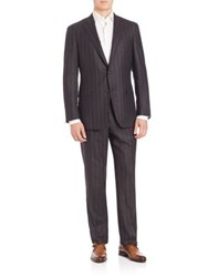 Saks Fifth Avenue Samuelsohn Pinstripe Wool Suit Charcoal