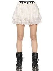Faith Connexion Ruffled Silk Crepe De Chine And Lace Skirt