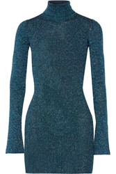 By Malene Birger Errandi Metallic Ribbed Knit Turtleneck Sweater Petrol