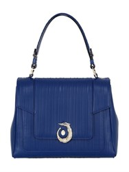 Trussardi Icon Embossed Leather Top Handle Bag