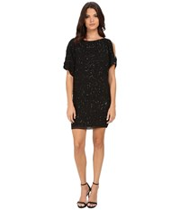 Aidan Mattox Cold Shoulder Beaded Cocktail Dress Black Women's Dress