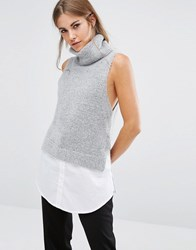 Fashion Union 2 In 1 Sleevless Roll Neck Knit Top Grey White