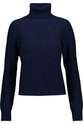 Equipment Atticus Cable Knit Wool And Cashmere Blend Turtleneck Sweater Midnight Blue