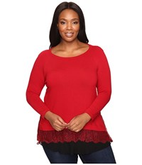 Karen Kane Plus Size Lace Inset Sweater Red Women's Sweater