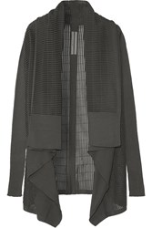 Rick Owens Draped Ribbed Knit Cotton Blend Cardigan Gray