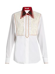 Miu Miu Guipure Lace Bib Cotton Poplin Shirt White Multi
