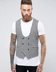 Noose And Monkey Super Skinny Waistcoat In Dogstooth Black White Multi