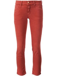 Closed Stretch Skinny Cropped Trousers Red