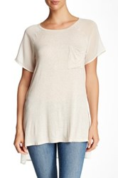 Bobeau Sheer Sleeve Tunic Beige