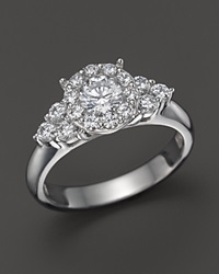 Bloomingdale's Diamond Round Cut Engagement Ring With Side Clusters In 14K White Gold 1.15 Ct. T.W.