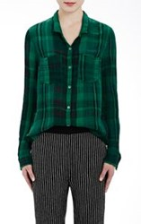 Raquel Allegra Washed Gauze Button Down Shirt Green