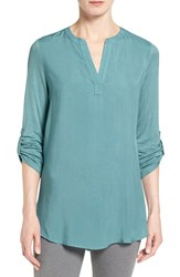 Pleione Petite Women's Split Neck Mixed Media Tunic Teal Britt