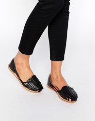 London Rebel Mica Weave Flat Shoes Black