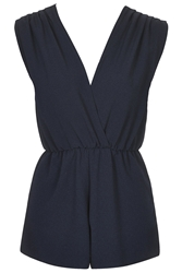 Wrap Over Playsuit By Rare Navy Blue