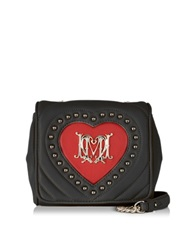 Love Moschino Black Quilted And Red Heart Eco Leather Crossbody Bag