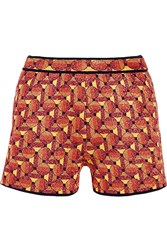 M Missoni Metallic Crochet Knit Shorts Orange