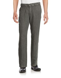 Black Brown Straight Leg Linen Pants Muted Charcoal