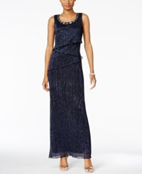 Connected Beaded Tiered Gown Navy