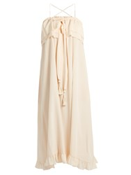 See By Chloe Self Tie Ruffled Trim Silk Dress Nude
