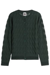 M Missoni Textured Wool Blend Cardigan Green