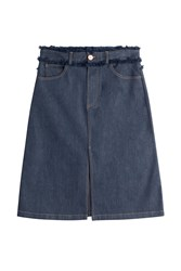 See By Chloe See By Chloe Jean Skirt With Fringed Waistband Blue