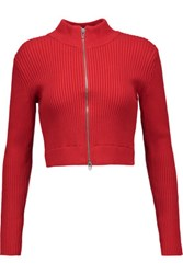 Alexander Wang T By Cropped Ribbed Cotton Blend Sweater Tomato Red