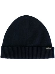 Stone Island Ribbed Knitted Beanie Blue