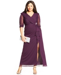 Patra Plus Size Portrait Collar Embellished Gown Eggplant