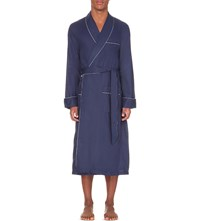Derek Rose Contrast Piping Cotton Jacquard Dressing Gown Navy