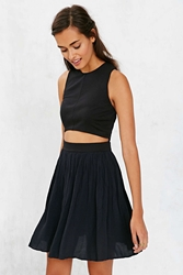Alice Ritter X Uo Anna Cropped Pleated Dress Black